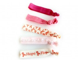 Pink Cancer Ribbon Stretch Hair Tie 30 Pieces