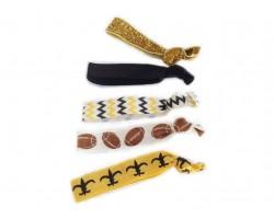 Saints Black & Gold Football & Chevron Stretch Hair Tie 30 Pieces