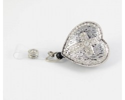 Antique Silver Grooved Heart with Crystal Cross Retractable Key Chain/ID Holder