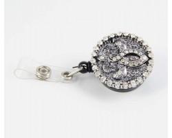 Antique Slv Filigree & Cry Fleur De Lis Retractable Key Chain/ID Holder