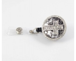 Antique Silver Filigree & Crystal Cross Circle Retractable Key Chain/ID Holder