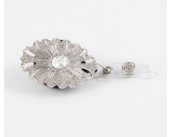 Silver Plate Oval Starburst Crystal Design Retractable Key Chain/ID Holder