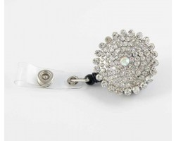 Silver Plate Crystal Encrusted Retractable Key Chain/ID Holder