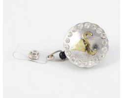 Two Tone Steer Head & Crystal Accent Retractable Key Chain/ID Holder