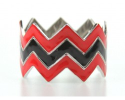 Black & Red Chevron 3 Band Bangle Bracelet