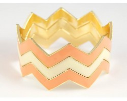 Peach & White Triple Band 7mm Chevron Bngl Bracelet