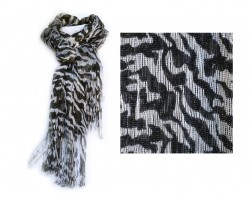 Zebra Black White Print with Silver Thread & Tassel Scarf