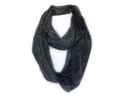 Black with Silver Thread Infinity Scarf