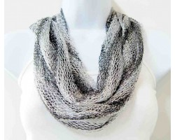 Black White Silver Thread Loose Weave Tassel Scarf