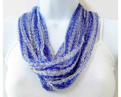 Blue White Silver Thread Loose Weave Tassel Scarf