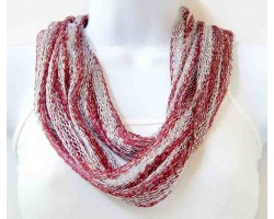 Maroon White Silver Thread Loose Weave Tassel Scarf