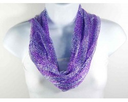 Purple White Silver Thread Loose Weave Tassel Scarf