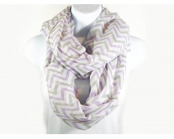 Lt Purple Gray White Chevron Infinity Scarf