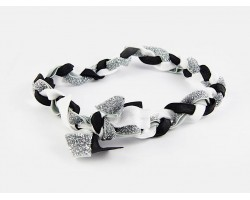 Black Silver Braided Ribbon Stretch Headband