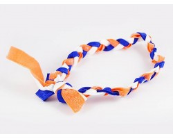 Blue Orange Braided Ribbon Stretch Headband