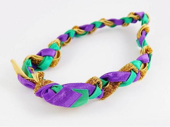 Mardi Gras Braided Ribbon Stretch Headband