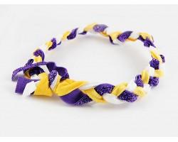 Purple Yellow Braided Ribbon Stretch Headband