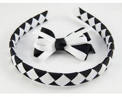 Black & White Diamond Bow Headband