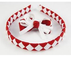Maroon & White Diamond Bow Headband