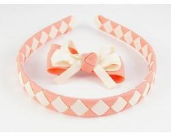 Pink & Cream Diamond Bow Headband