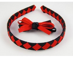 Red & Black Diamond Bow Headband