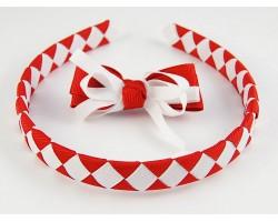 Red & White Diamond Bow Headband