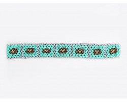 Turquoise Multi Seed Bead Bronze Rect Stretch Headband