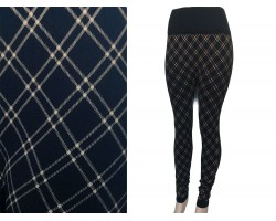 Black Gold Plaid Pattern Leggings