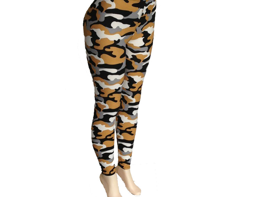 Sports And Imports >> Black & Gold Camouflage Pattern Leggings - BH27677BKG