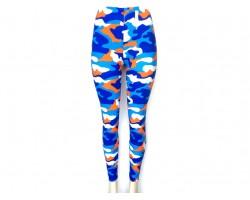 Blue & Orange Camouflage Pattern Leggings