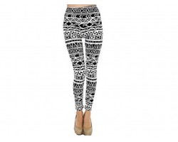 Black & White Aztec Tribal Pattern Leggings