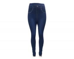Blue Denim Jean Side Leg Floral Leggings