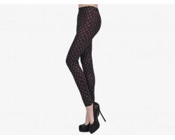 Purple Small Polka Dot Pattern Black Leggings