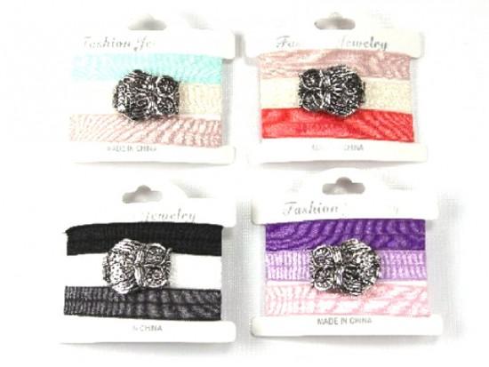 Assorted Ribbon Owl Bracelet Hair Ties 18pk