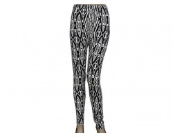 Black White Aztec Tribal Pattern Leggings