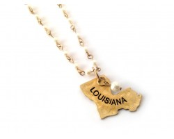 Antique Gold Louisiana State Map Pearl Link Necklace