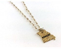 Antique Gold MISSOURI State Map Pearl Link Necklace