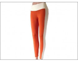 Orange White Striped Leggings