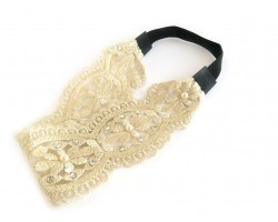 Beige Filigree Lace Floral Crystal Gold Thread Stretch Headband