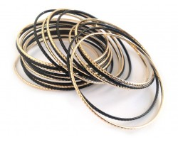 Black Gold Thin Bangle 23 Set