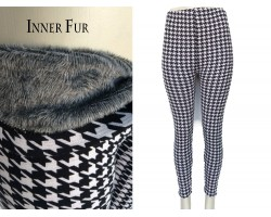 Black White Houndstooth Fleece Legging