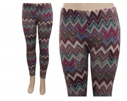 Fuchsia Brown Teal Chevron Fleece Legging