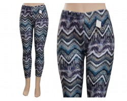 Gray White Teal Chevron Fleece Legging