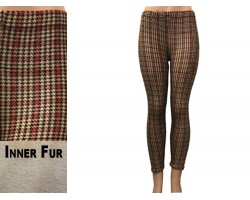 Brown Houndstooth Pattern Fleece Legging