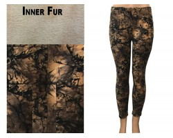 Brown Antique Abstract Pattern Fleece Legging