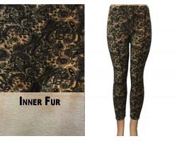 Brown Antique Paisley Pattern Fleece Legging