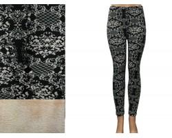 Black White Floral Pattern Fleece Legging