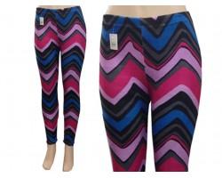 Hot Pink Violet Blue Black Chevron Fleece Legging