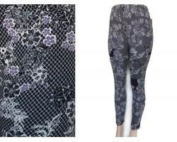 Black Fuchsia Floral Net Pattern Fleece Legging