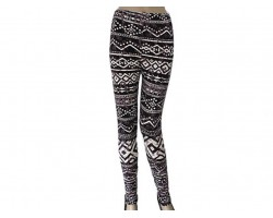 Gray Black Aztec Tribal Pattern Leggings